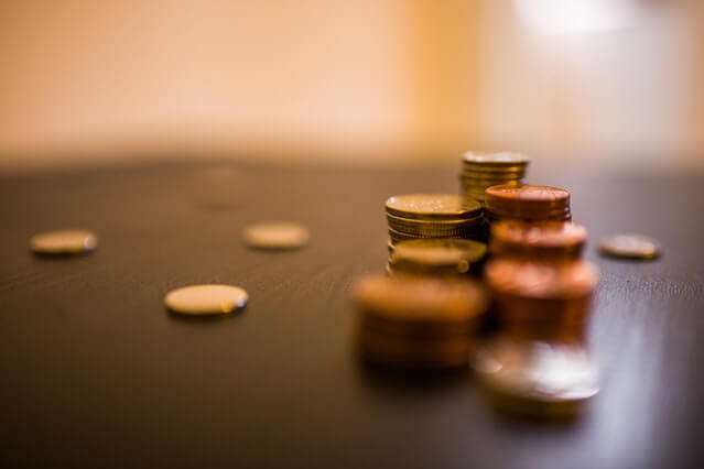 Stack of coins on a table